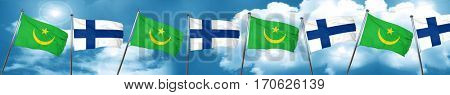 Mauritania flag with Finland flag, 3D rendering