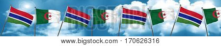 Gambia flag with Algeria flag, 3D rendering