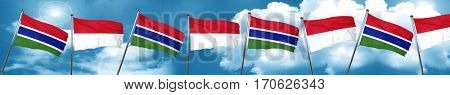 Gambia flag with Indonesia flag, 3D rendering