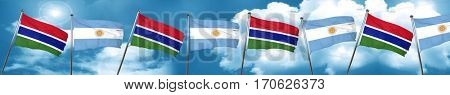 Gambia flag with Argentine flag, 3D rendering