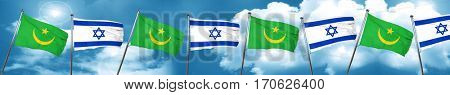 Mauritania flag with Israel flag, 3D rendering