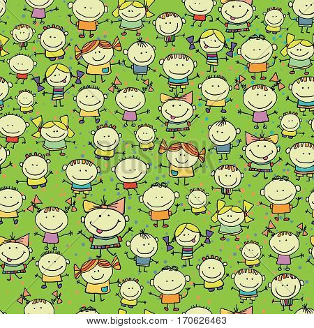 Happy smiling children seamless pattern. Many smiling kids