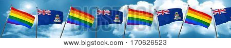 Gay pride flag with Cayman islands flag, 3D rendering