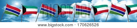 Gambia flag with Kuwait flag, 3D rendering