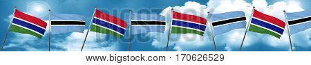 Gambia flag with Botswana flag, 3D rendering