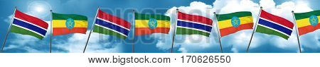 Gambia flag with Ethiopia flag, 3D rendering