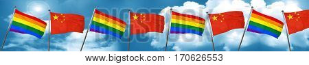 Gay pride flag with China flag, 3D rendering
