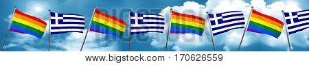 Gay pride flag with Greece flag, 3D rendering