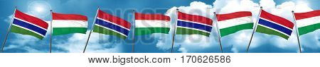 Gambia flag with Hungary flag, 3D rendering