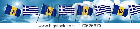 Barbados flag with Greece flag, 3D rendering