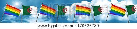 Gay pride flag with Algeria flag, 3D rendering