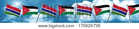 Gambia flag with Jordan flag, 3D rendering