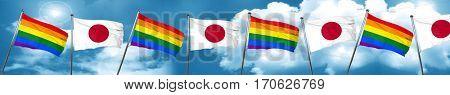 Gay pride flag with Japan flag, 3D rendering