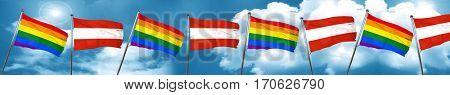 Gay pride flag with Austria flag, 3D rendering