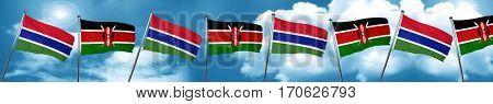 Gambia flag with Kenya flag, 3D rendering