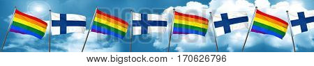 Gay pride flag with Finland flag, 3D rendering