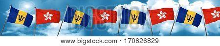 Barbados flag with Hong Kong flag, 3D rendering