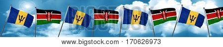 Barbados flag with Kenya flag, 3D rendering