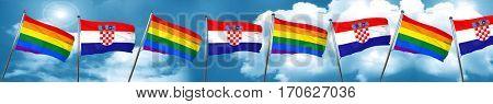 Gay pride flag with Croatia flag, 3D rendering