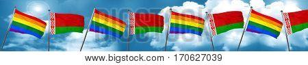 Gay pride flag with Belarus flag, 3D rendering