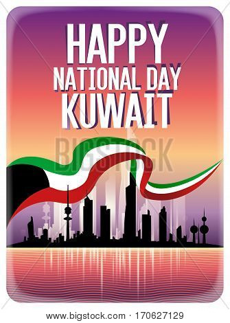 Happy National Day Kuwait Skyline And Flag Greeting Card