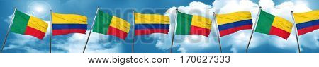 Benin flag with Colombia flag, 3D rendering