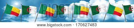Benin flag with Algeria flag, 3D rendering