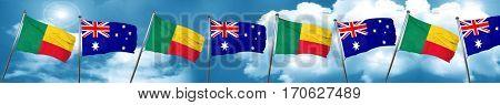 Benin flag with Australia flag, 3D rendering