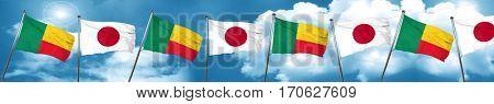 Benin flag with Japan flag, 3D rendering