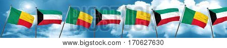 Benin flag with Kuwait flag, 3D rendering