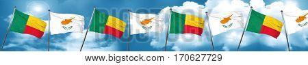 Benin flag with Cyprus flag, 3D rendering