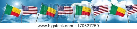 Benin flag with American flag, 3D rendering