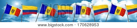 Moldova flag with Colombia flag, 3D rendering