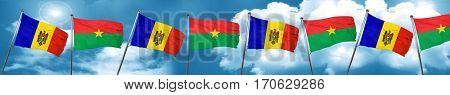 Moldova flag with Burkina Faso flag, 3D rendering