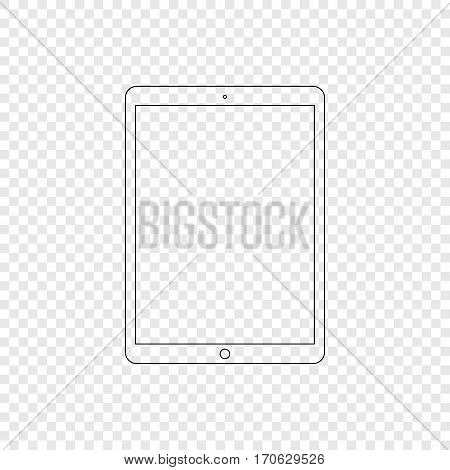 Tablet. Modern tablet computer in linear style. Tablet on transparent background