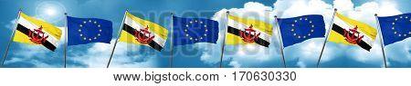 Brunei flag with european union flag, 3D rendering