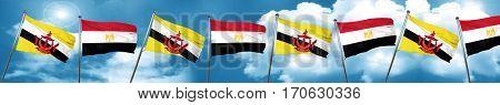 Brunei flag with egypt flag, 3D rendering