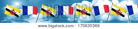 Brunei flag with France flag, 3D rendering