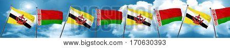 Brunei flag with Belarus flag, 3D rendering