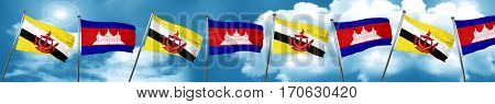 Brunei flag with Cambodia flag, 3D rendering