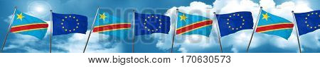 Democratic republic of the congo flag with european union flag,