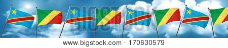 Democratic republic of the congo flag with congo flag, 3D render