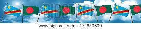 Democratic republic of the congo flag with Bangladesh flag, 3D r