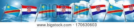 Democratic republic of the congo flag with Croatia flag, 3D rend