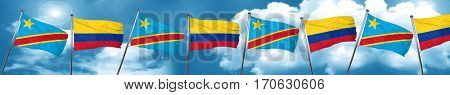 Democratic republic of the congo flag with Colombia flag, 3D ren