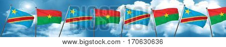 Democratic republic of the congo flag with Burkina Faso flag, 3D