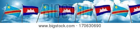 Democratic republic of the congo flag with Cambodia flag, 3D ren