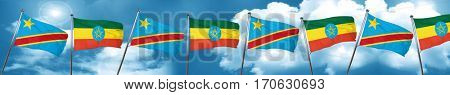 Democratic republic of the congo flag with Ethiopia flag, 3D ren