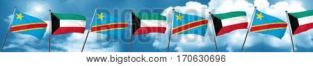 Democratic republic of the congo flag with Kuwait flag, 3D rende