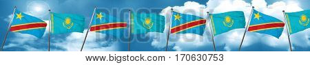 Democratic republic of the congo flag with Kazakhstan flag, 3D r